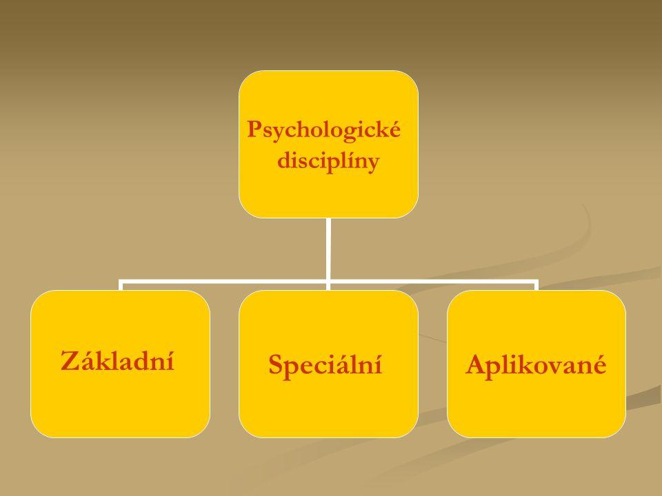 Psychologické disciplíny ZákladníSpeciálníAplikované