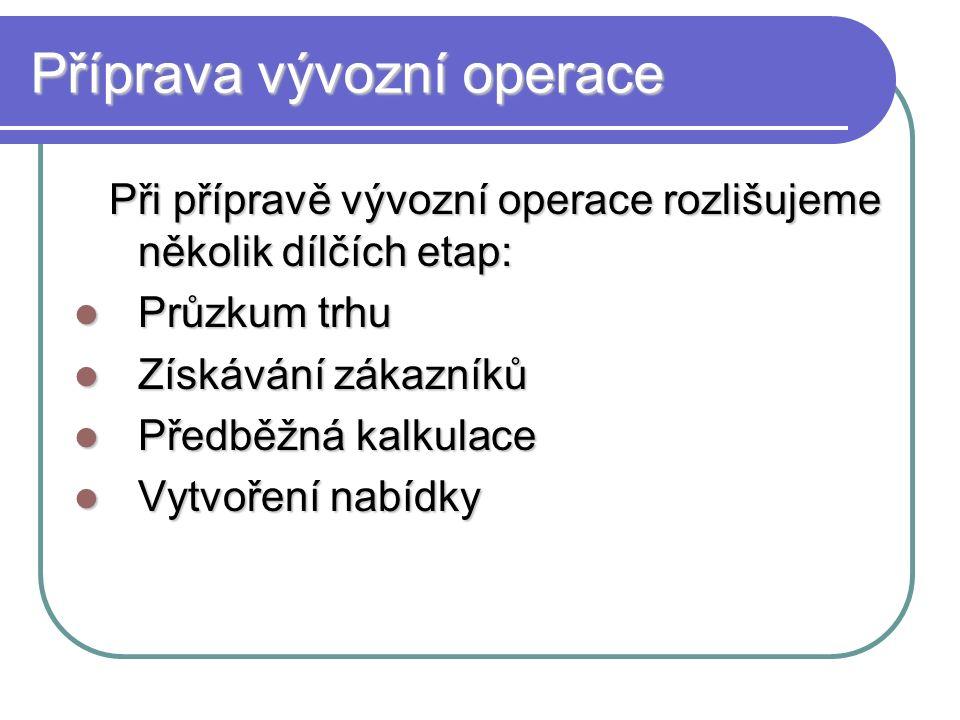 Příprava vývozní operace Při přípravě vývozní operace rozlišujeme několik dílčích etap: Průzkum trhu Získávání zákazníků Předběžná kalkulace Vytvoření nabídky
