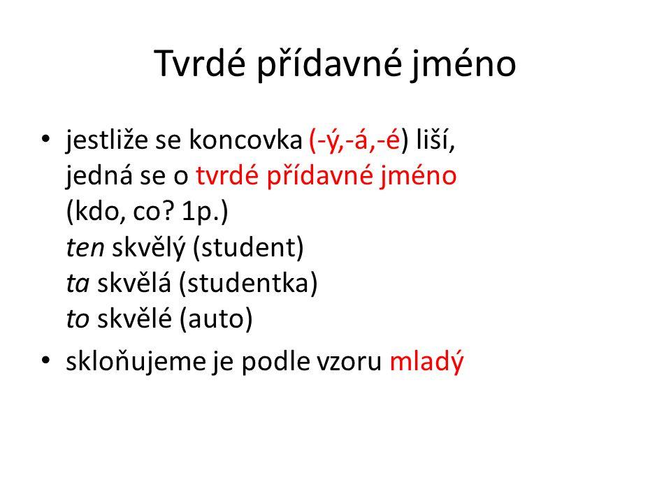 Tvrdé přídavné jméno jestliže se koncovka (-ý,-á,-é) liší, jedná se o tvrdé přídavné jméno (kdo, co? 1p.) ten skvělý (student) ta skvělá (studentka) t
