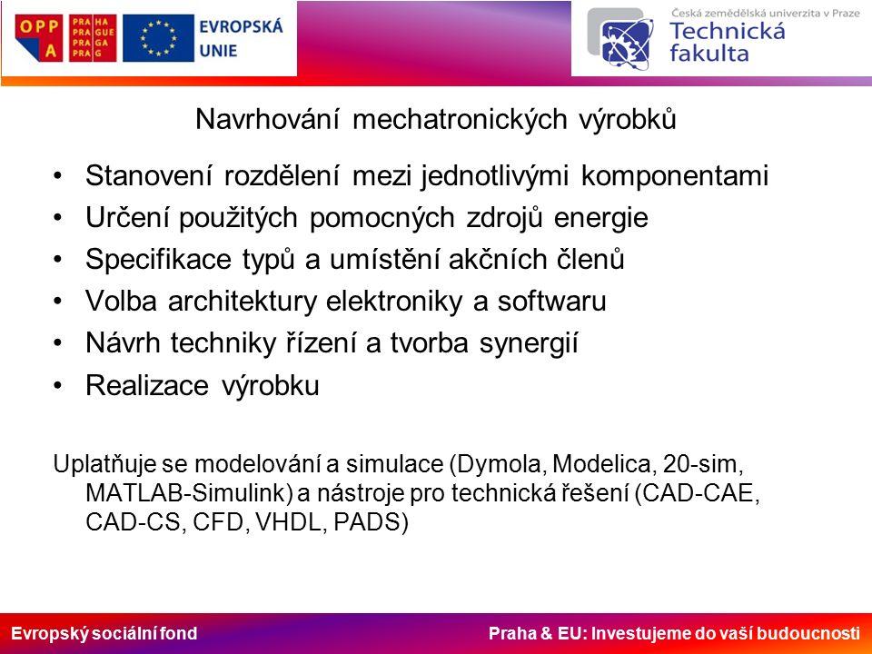 Evropský sociální fond Praha & EU: Investujeme do vaší budoucnosti Navrhování mechatronických výrobků Stanovení rozdělení mezi jednotlivými komponentami Určení použitých pomocných zdrojů energie Specifikace typů a umístění akčních členů Volba architektury elektroniky a softwaru Návrh techniky řízení a tvorba synergií Realizace výrobku Uplatňuje se modelování a simulace (Dymola, Modelica, 20-sim, MATLAB-Simulink) a nástroje pro technická řešení (CAD-CAE, CAD-CS, CFD, VHDL, PADS)