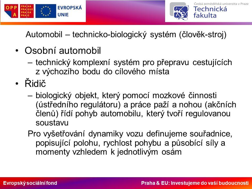 Evropský sociální fond Praha & EU: Investujeme do vaší budoucnosti Automobil – technicko-biologický systém (člověk-stroj) Osobní automobil –technický komplexní systém pro přepravu cestujících z výchozího bodu do cílového místa Řidič –biologický objekt, který pomocí mozkové činnosti (ústředního regulátoru) a práce paží a nohou (akčních členů) řídí pohyb automobilu, který tvoří regulovanou soustavu Pro vyšetřování dynamiky vozu definujeme souřadnice, popisující polohu, rychlost pohybu a působící síly a momenty vzhledem k jednotlivým osám