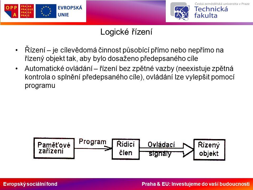 Evropský sociální fond Praha & EU: Investujeme do vaší budoucnosti Logické řízení Řízení – je cílevědomá činnost působící přímo nebo nepřímo na řízený objekt tak, aby bylo dosaženo předepsaného cíle Automatické ovládání – řízení bez zpětné vazby (neexistuje zpětná kontrola o splnění předepsaného cíle), ovládání lze vylepšit pomocí programu
