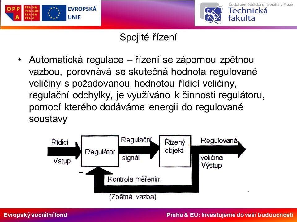 Evropský sociální fond Praha & EU: Investujeme do vaší budoucnosti Spojité řízení Automatická regulace – řízení se zápornou zpětnou vazbou, porovnává se skutečná hodnota regulované veličiny s požadovanou hodnotou řídicí veličiny, regulační odchylky, je využíváno k činnosti regulátoru, pomocí kterého dodáváme energii do regulované soustavy