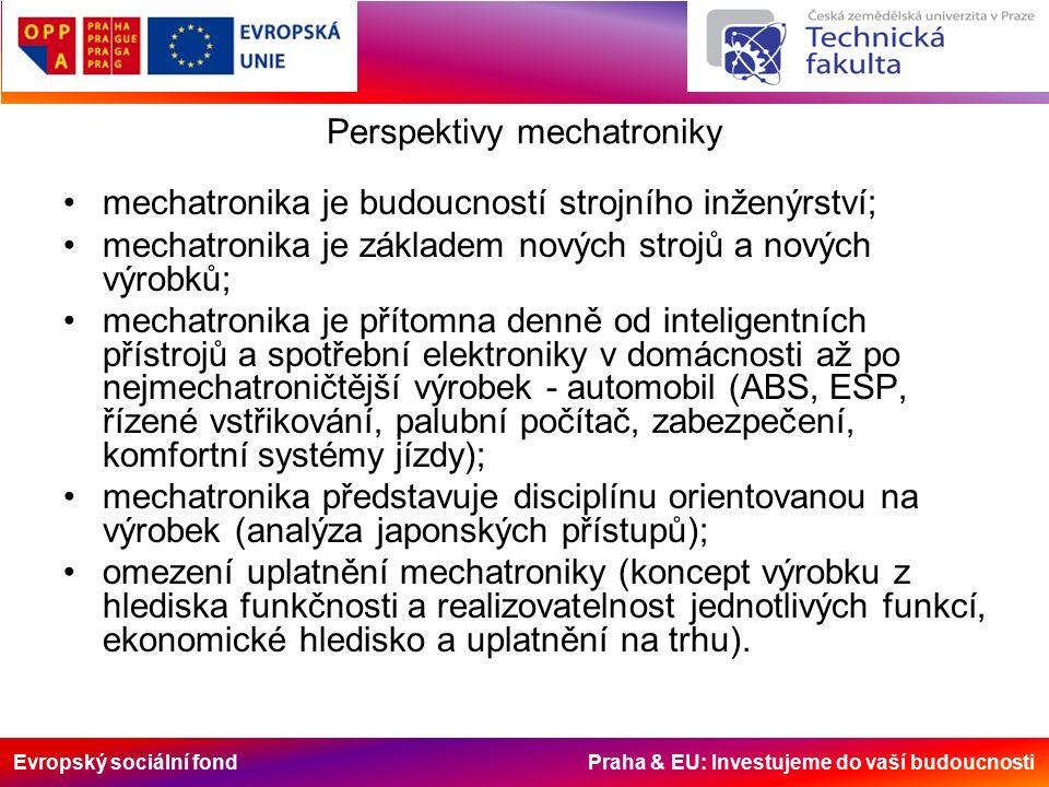 Evropský sociální fond Praha & EU: Investujeme do vaší budoucnosti Perspektivy mechatroniky mechatronika je budoucností strojního inženýrství; mechatronika je základem nových strojů a nových výrobků; mechatronika je přítomna denně od inteligentních přístrojů a spotřební elektroniky v domácnosti až po nejmechatroničtější výrobek - automobil (ABS, ESP, řízené vstřikování, palubní počítač, zabezpečení, komfortní systémy jízdy); mechatronika představuje disciplínu orientovanou na výrobek (analýza japonských přístupů); omezení uplatnění mechatroniky (koncept výrobku z hlediska funkčnosti a realizovatelnost jednotlivých funkcí, ekonomické hledisko a uplatnění na trhu).
