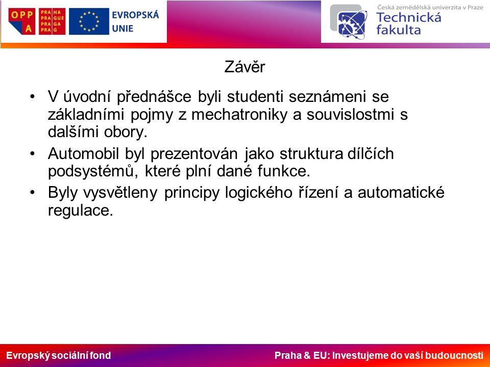 Evropský sociální fond Praha & EU: Investujeme do vaší budoucnosti Závěr V úvodní přednášce byli studenti seznámeni se základními pojmy z mechatroniky a souvislostmi s dalšími obory.