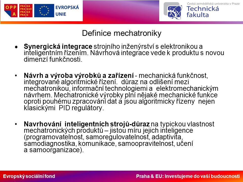 Evropský sociální fond Praha & EU: Investujeme do vaší budoucnosti Definice mechatroniky  Synergická integrace strojního inženýrství s elektronikou a inteligentním řízením.