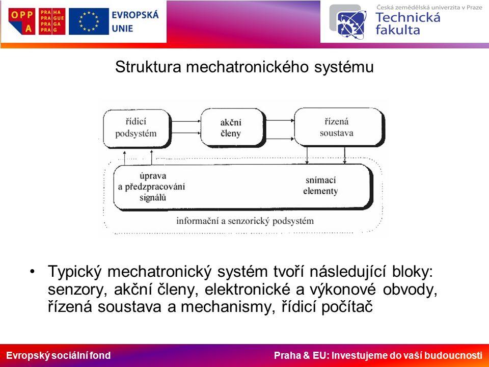 Evropský sociální fond Praha & EU: Investujeme do vaší budoucnosti Struktura mechatronického systému Typický mechatronický systém tvoří následující bloky: senzory, akční členy, elektronické a výkonové obvody, řízená soustava a mechanismy, řídicí počítač