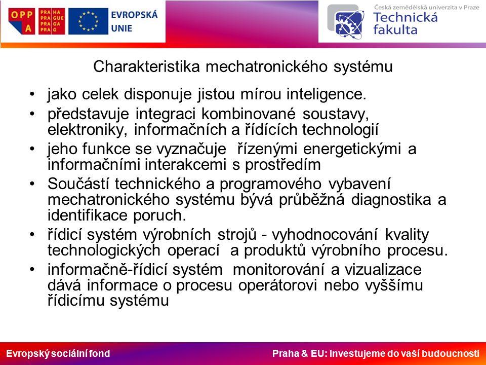 Evropský sociální fond Praha & EU: Investujeme do vaší budoucnosti Charakteristika mechatronického systému jako celek disponuje jistou mírou inteligence.