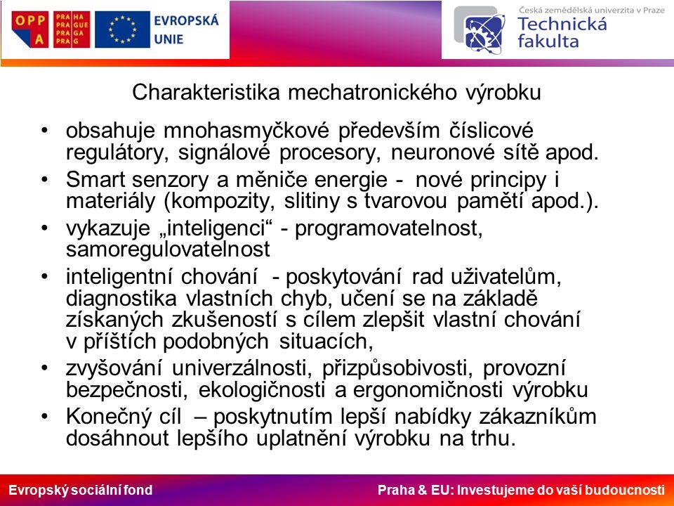Evropský sociální fond Praha & EU: Investujeme do vaší budoucnosti Charakteristika mechatronického výrobku obsahuje mnohasmyčkové především číslicové regulátory, signálové procesory, neuronové sítě apod.