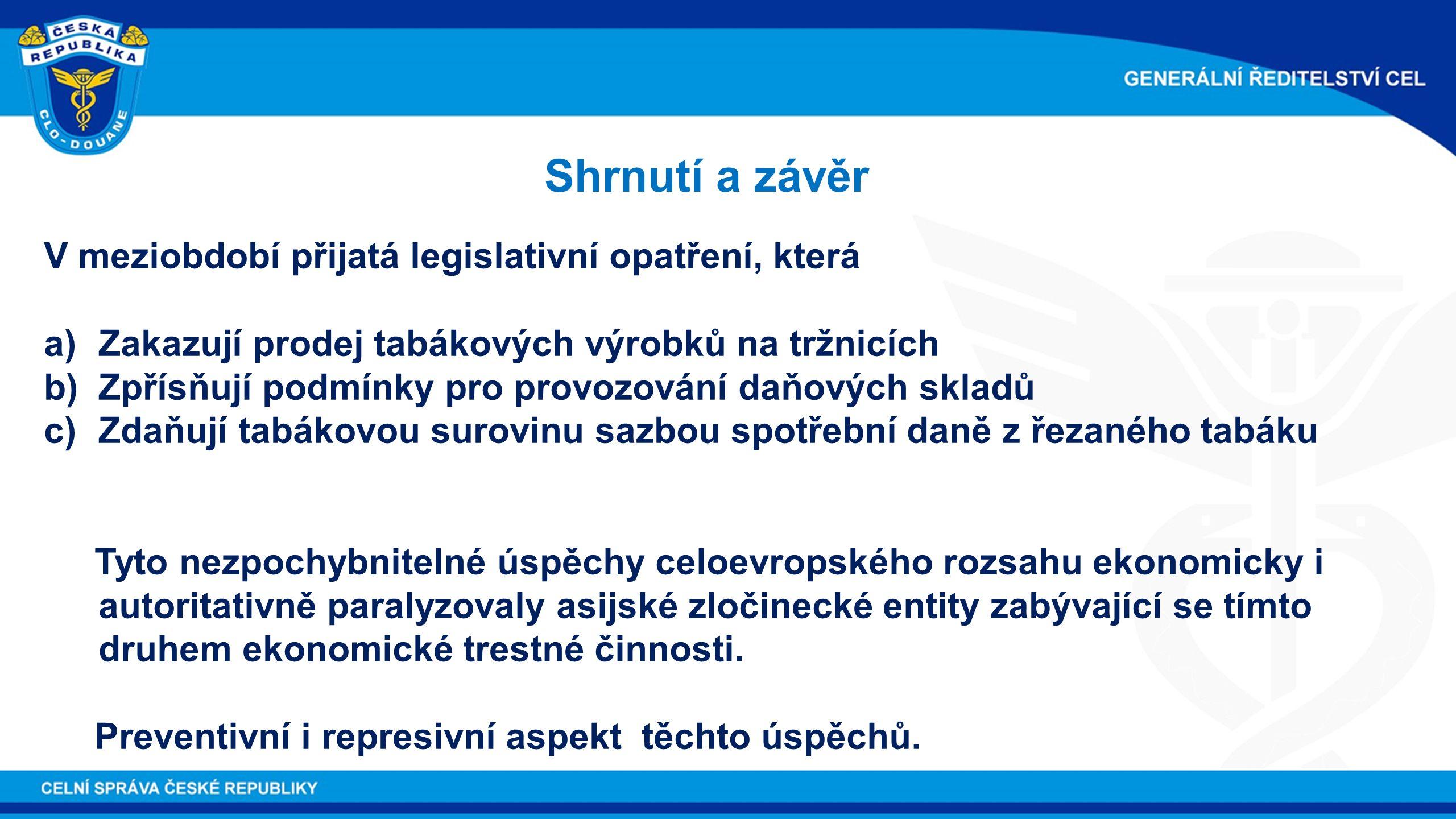 Shrnutí a závěr V meziobdobí přijatá legislativní opatření, která a)Zakazují prodej tabákových výrobků na tržnicích b)Zpřísňují podmínky pro provozová
