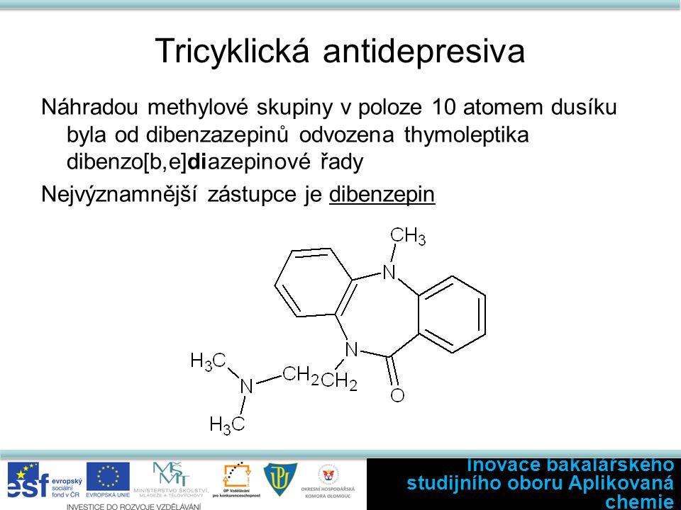 Tricyklická antidepresiva Náhradou methylové skupiny v poloze 10 atomem dusíku byla od dibenzazepinů odvozena thymoleptika dibenzo[b,e]diazepinové řady Nejvýznamnější zástupce je dibenzepin Inovace bakalářského studijního oboru Aplikovaná chemie