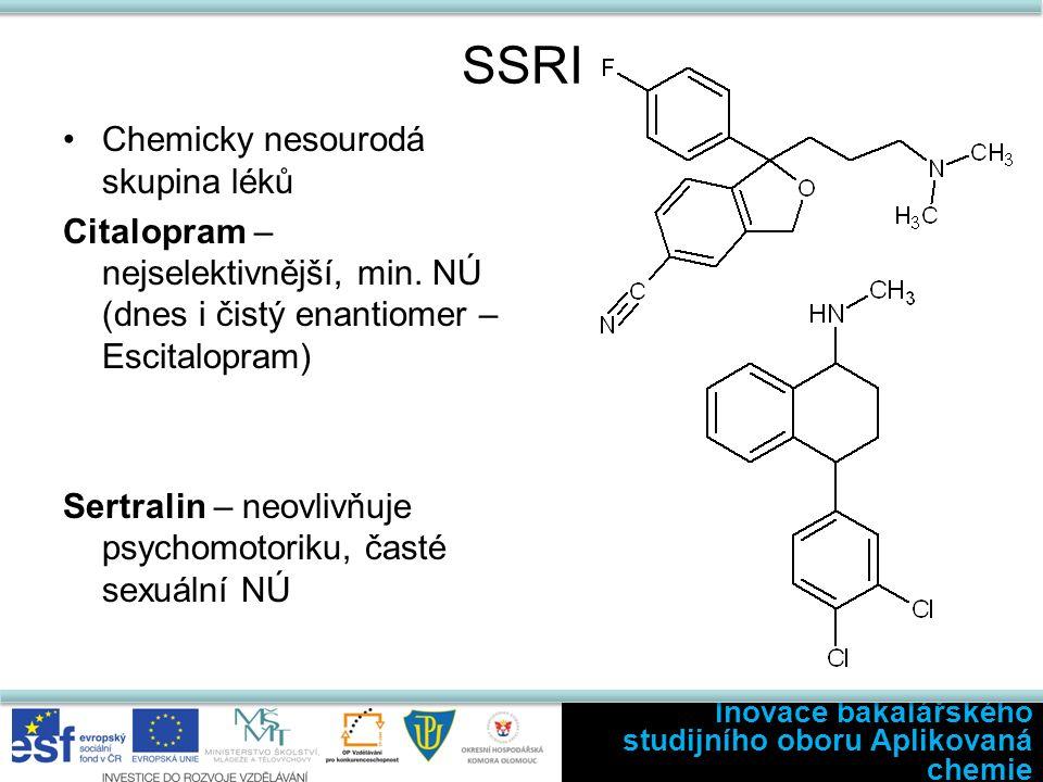 SSRI Chemicky nesourodá skupina léků Citalopram – nejselektivnější, min. NÚ (dnes i čistý enantiomer – Escitalopram) Sertralin – neovlivňuje psychomot