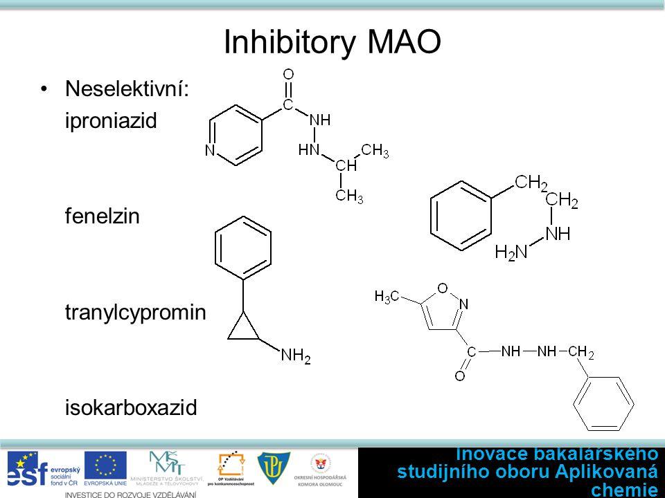 Inhibitory MAO Neselektivní: iproniazid fenelzin tranylcypromin isokarboxazid Inovace bakalářského studijního oboru Aplikovaná chemie