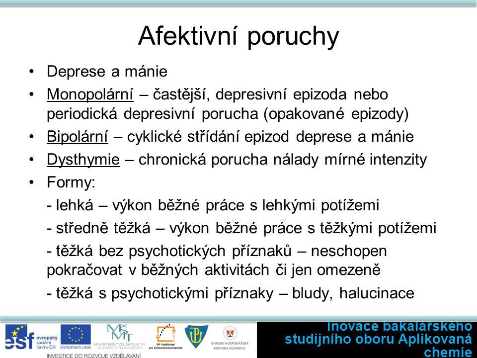 Afektivní poruchy Deprese a mánie Monopolární – častější, depresivní epizoda nebo periodická depresivní porucha (opakované epizody) Bipolární – cyklic