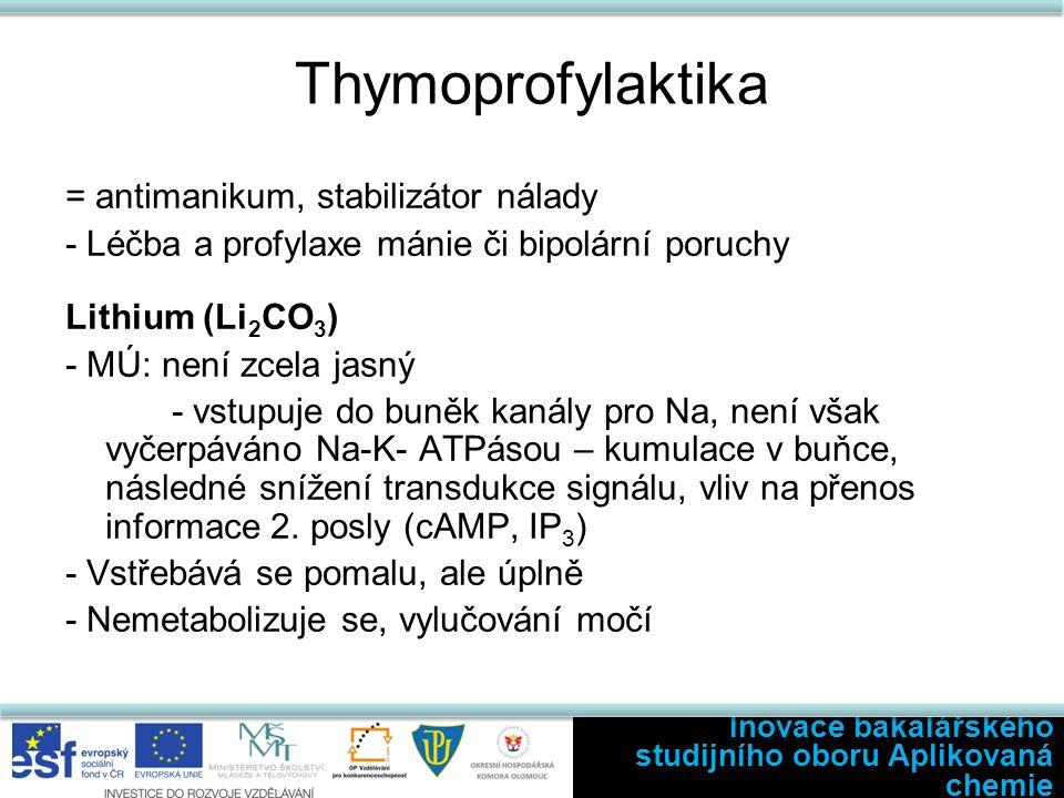 Thymoprofylaktika = antimanikum, stabilizátor nálady - Léčba a profylaxe mánie či bipolární poruchy Lithium (Li 2 CO 3 ) - MÚ: není zcela jasný - vstu