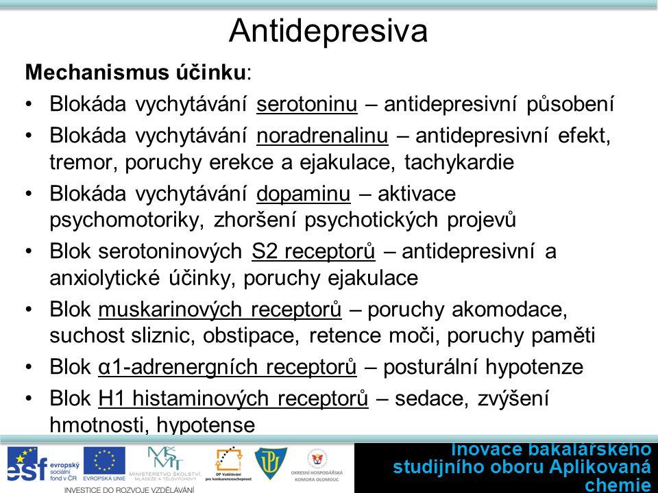 Antidepresiva Mechanismus účinku: Blokáda vychytávání serotoninu – antidepresivní působení Blokáda vychytávání noradrenalinu – antidepresivní efekt, tremor, poruchy erekce a ejakulace, tachykardie Blokáda vychytávání dopaminu – aktivace psychomotoriky, zhoršení psychotických projevů Blok serotoninových S2 receptorů – antidepresivní a anxiolytické účinky, poruchy ejakulace Blok muskarinových receptorů – poruchy akomodace, suchost sliznic, obstipace, retence moči, poruchy paměti Blok α1-adrenergních receptorů – posturální hypotenze Blok H1 histaminových receptorů – sedace, zvýšení hmotnosti, hypotense Inovace bakalářského studijního oboru Aplikovaná chemie