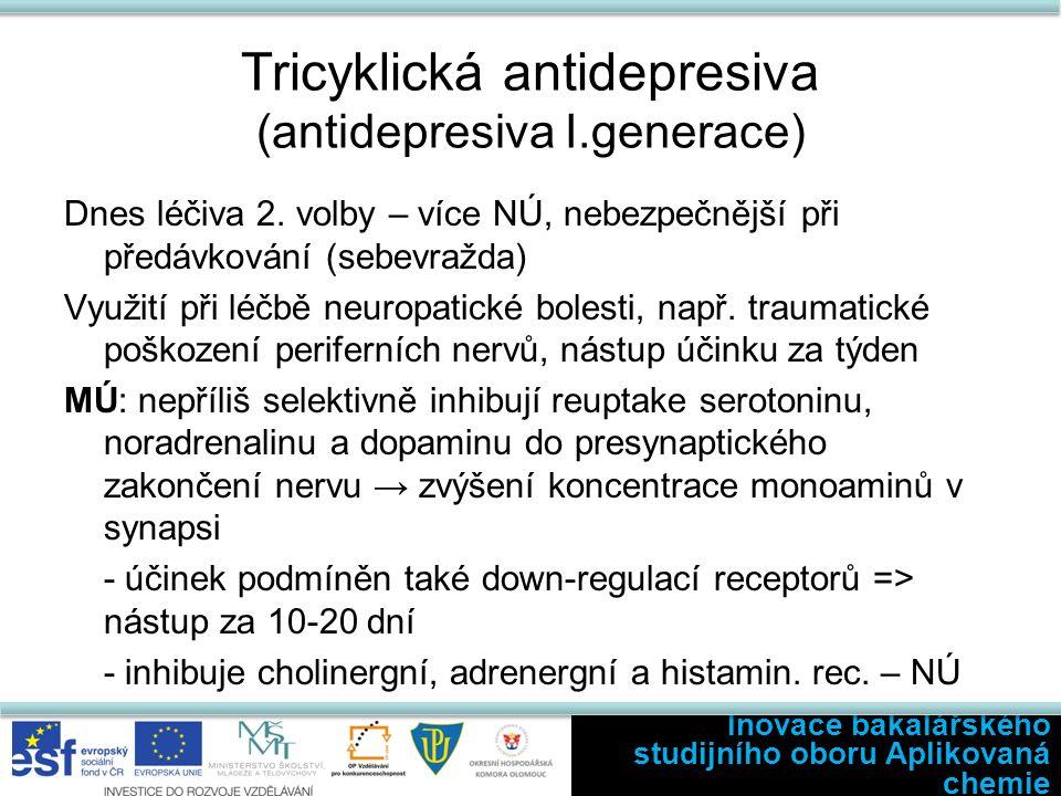 Tricyklická antidepresiva (antidepresiva I.generace) Dnes léčiva 2. volby – více NÚ, nebezpečnější při předávkování (sebevražda) Využití při léčbě neu