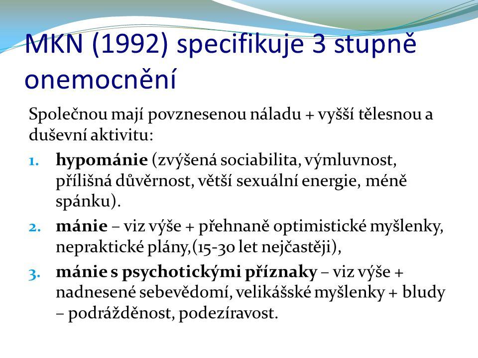 MKN (1992) specifikuje 3 stupně onemocnění Společnou mají povznesenou náladu + vyšší tělesnou a duševní aktivitu: 1. hypománie (zvýšená sociabilita, v