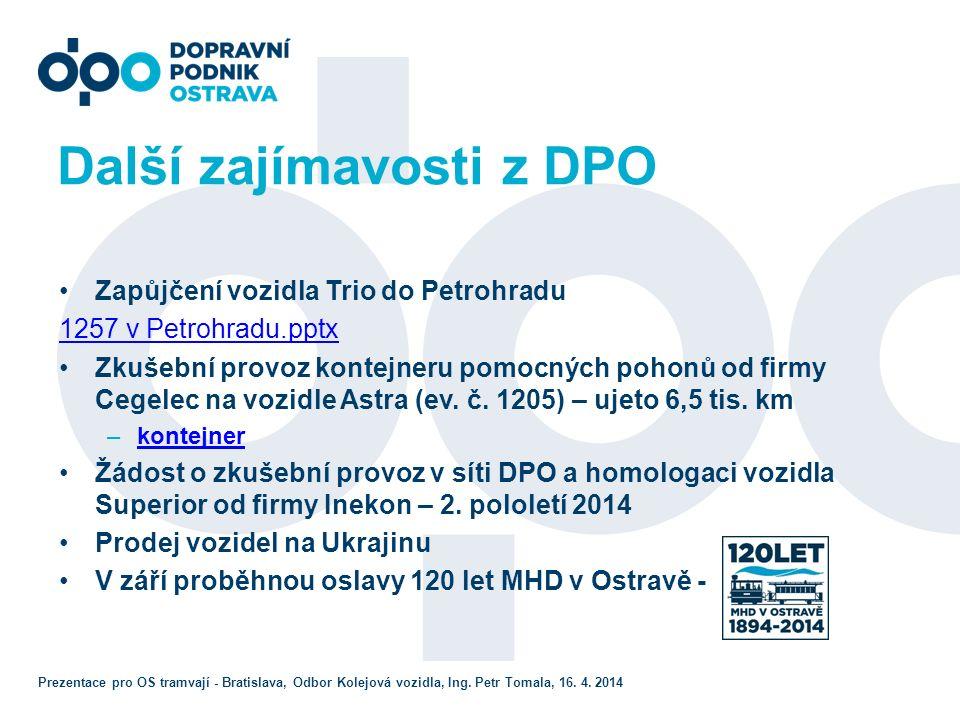 Další zajímavosti z DPO Zapůjčení vozidla Trio do Petrohradu 1257 v Petrohradu.pptx Zkušební provoz kontejneru pomocných pohonů od firmy Cegelec na vozidle Astra (ev.