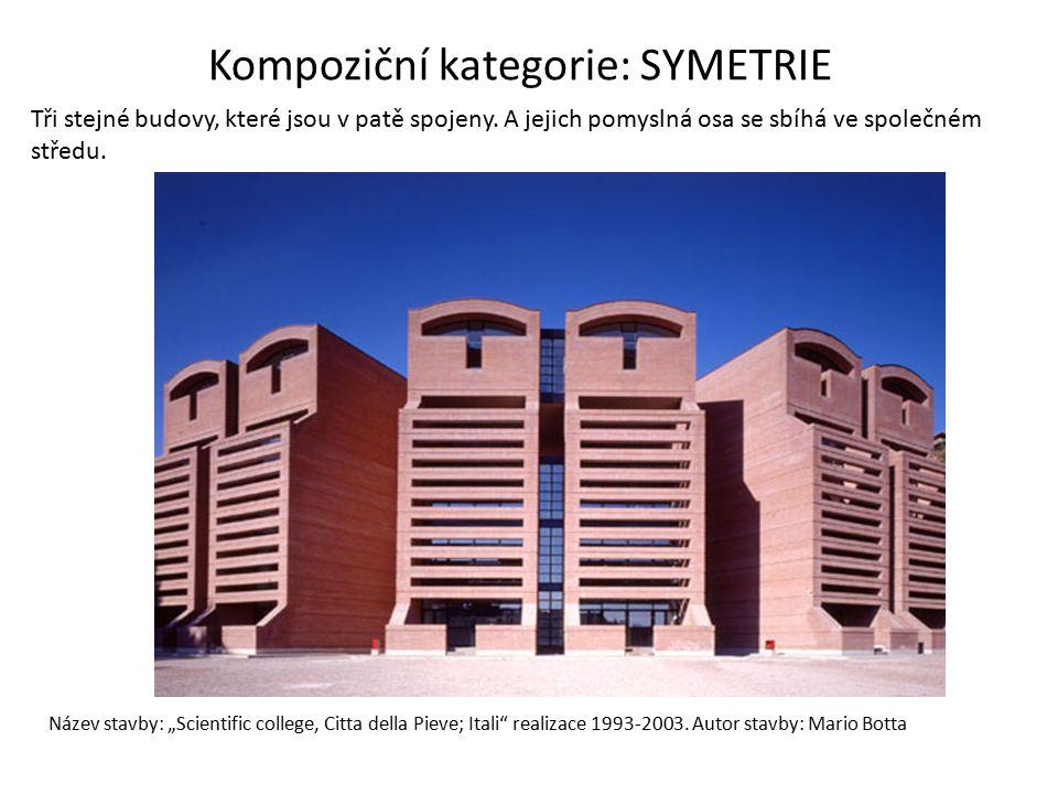 """Název stavby: """"Scientific college, Citta della Pieve; Itali"""" realizace 1993-2003. Autor stavby: Mario Botta Tři stejné budovy, které jsou v patě spoje"""