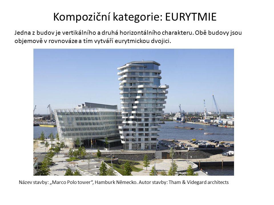 Jedna z budov je vertikálního a druhá horizontálního charakteru. Obě budovy jsou objemově v rovnováze a tím vytváří eurytmickou dvojici. Název stavby: