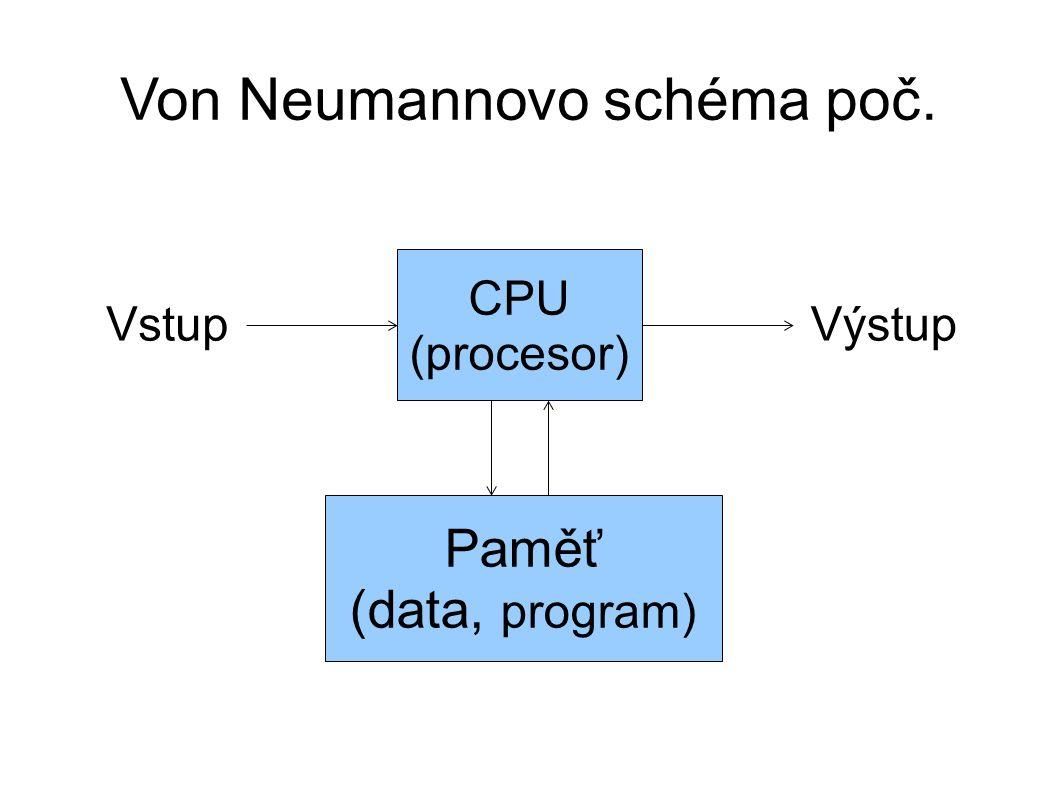 Von Neumannovo schéma poč. CPU (procesor) Paměť (data, program) VstupVýstup