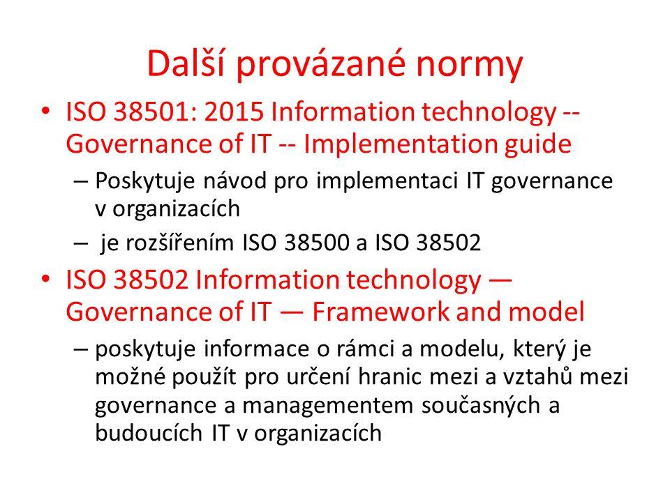 Další provázané normy ISO 38501: 2015 Information technology -- Governance of IT -- Implementation guide – Poskytuje návod pro implementaci IT governance v organizacích – je rozšířením ISO 38500 a ISO 38502 ISO 38502 Information technology — Governance of IT — Framework and model – poskytuje informace o rámci a modelu, který je možné použít pro určení hranic mezi a vztahů mezi governance a managementem současných a budoucích IT v organizacích