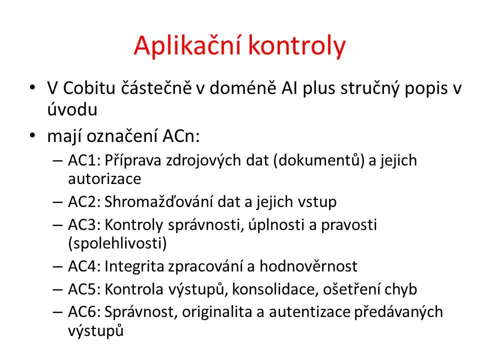 Aplikační kontroly V Cobitu částečně v doméně AI plus stručný popis v úvodu mají označení ACn: – AC1: Příprava zdrojových dat (dokumentů) a jejich autorizace – AC2: Shromažďování dat a jejich vstup – AC3: Kontroly správnosti, úplnosti a pravosti (spolehlivosti) – AC4: Integrita zpracování a hodnověrnost – AC5: Kontrola výstupů, konsolidace, ošetření chyb – AC6: Správnost, originalita a autentizace předávaných výstupů