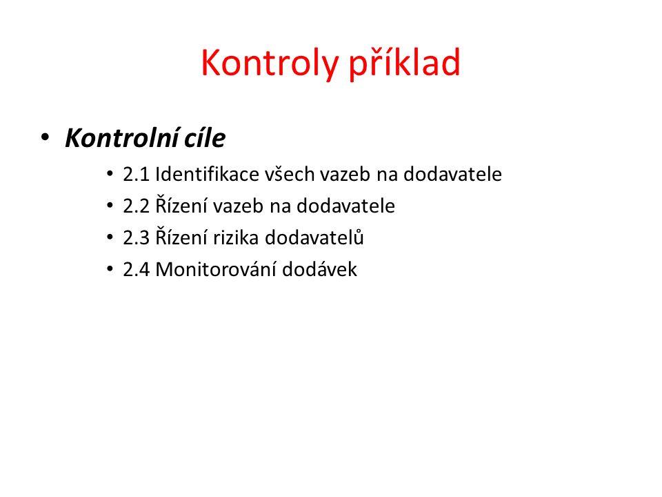 Kontroly příklad Kontrolní cíle 2.1 Identifikace všech vazeb na dodavatele 2.2 Řízení vazeb na dodavatele 2.3 Řízení rizika dodavatelů 2.4 Monitorován