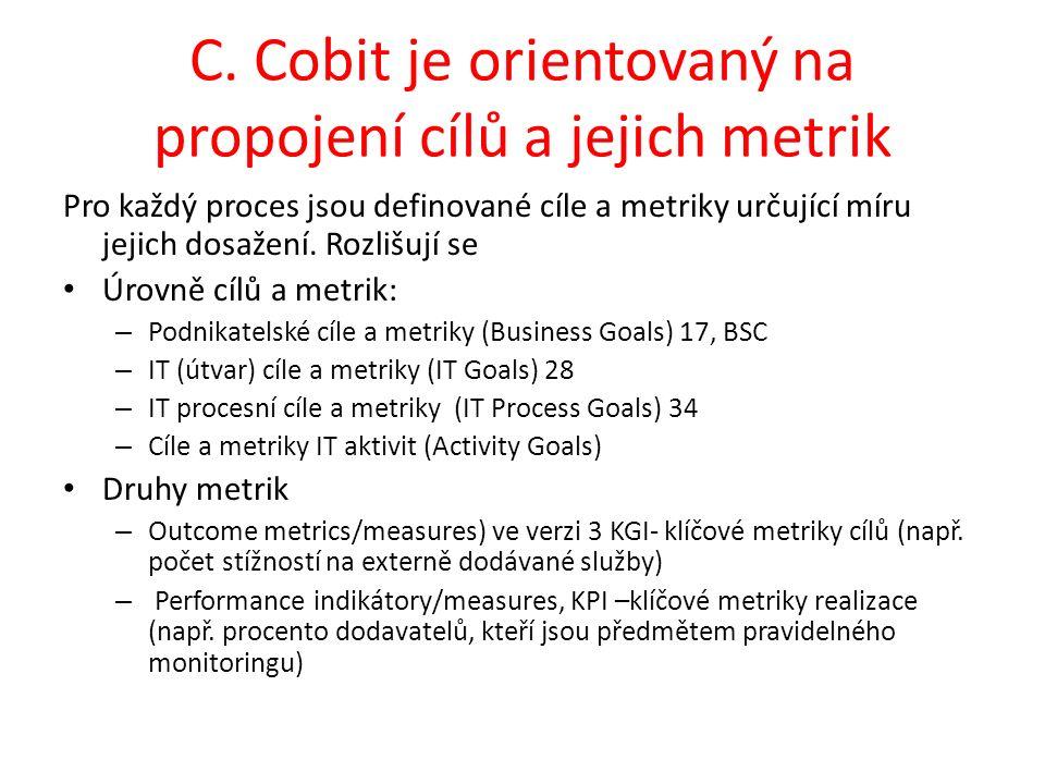 C. Cobit je orientovaný na propojení cílů a jejich metrik Pro každý proces jsou definované cíle a metriky určující míru jejich dosažení. Rozlišují se