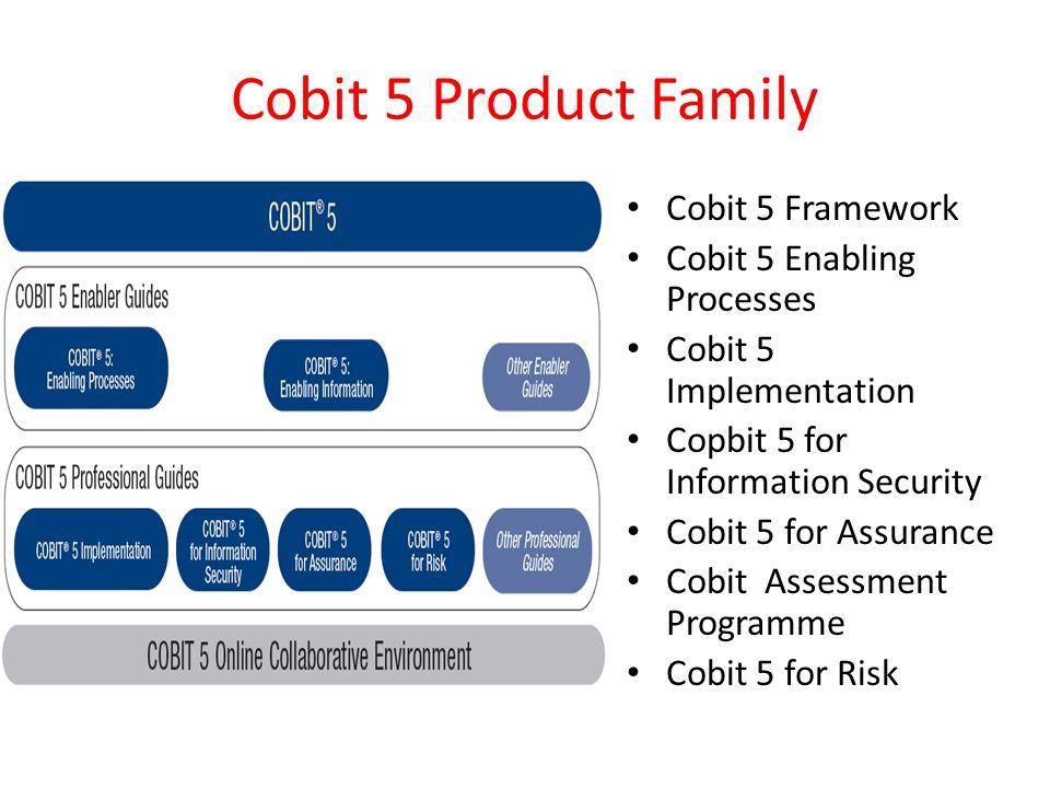 Cobit 5 Product Family Cobit 5 Framework Cobit 5 Enabling Processes Cobit 5 Implementation Copbit 5 for Information Security Cobit 5 for Assurance Cobit Assessment Programme Cobit 5 for Risk