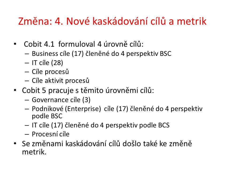 Změna: 4. Nové kaskádování cílů a metrik Cobit 4.1 formuloval 4 úrovně cílů: – Business cíle (17) členěné do 4 perspektiv BSC – IT cíle (28) – Cíle pr