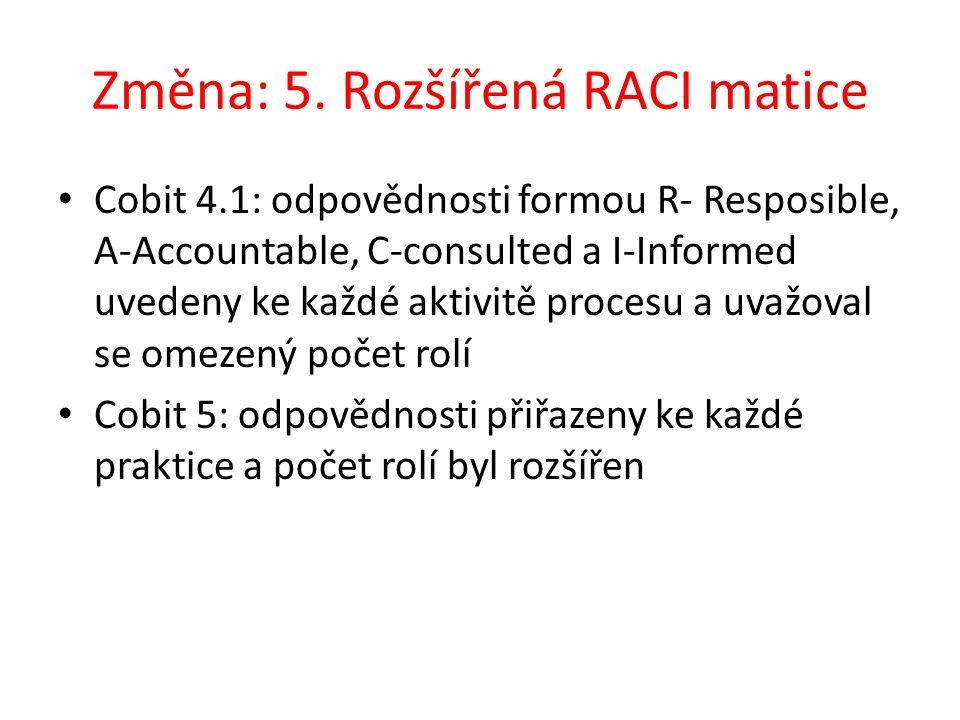 Změna: 5. Rozšířená RACI matice Cobit 4.1: odpovědnosti formou R- Resposible, A-Accountable, C-consulted a I-Informed uvedeny ke každé aktivitě proces