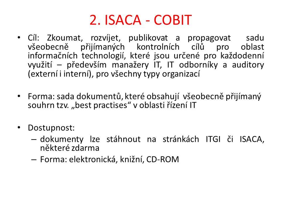 2. ISACA - COBIT Cíl: Zkoumat, rozvíjet, publikovat a propagovat sadu všeobecně přijímaných kontrolních cílů pro oblast informačních technologií, kter