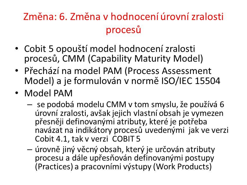 Změna: 6. Změna v hodnocení úrovní zralosti procesů Cobit 5 opouští model hodnocení zralosti procesů, CMM (Capability Maturity Model) Přechází na mode