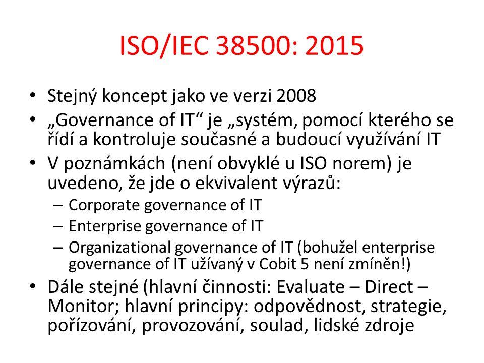 """ISO/IEC 38500: 2015 Stejný koncept jako ve verzi 2008 """"Governance of IT je """"systém, pomocí kterého se řídí a kontroluje současné a budoucí využívání IT V poznámkách (není obvyklé u ISO norem) je uvedeno, že jde o ekvivalent výrazů: – Corporate governance of IT – Enterprise governance of IT – Organizational governance of IT (bohužel enterprise governance of IT užívaný v Cobit 5 není zmíněn!) Dále stejné (hlavní činnosti: Evaluate – Direct – Monitor; hlavní principy: odpovědnost, strategie, pořízování, provozování, soulad, lidské zdroje"""