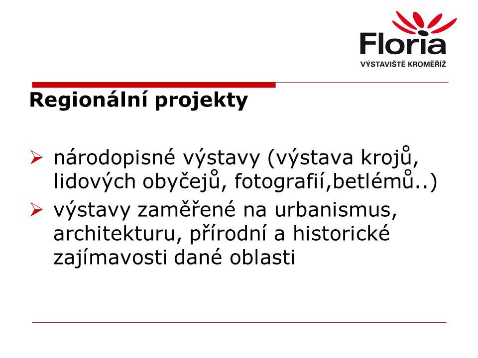 Regionální projekty  národopisné výstavy (výstava krojů, lidových obyčejů, fotografií,betlémů..)  výstavy zaměřené na urbanismus, architekturu, přírodní a historické zajímavosti dané oblasti
