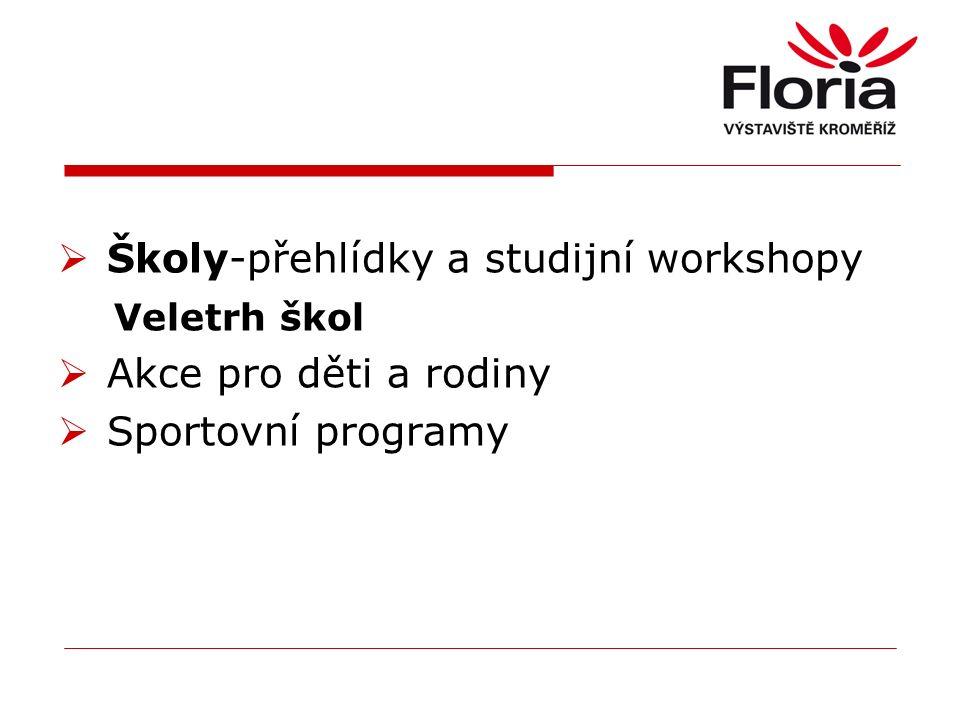  Školy-přehlídky a studijní workshopy Veletrh škol  Akce pro děti a rodiny  Sportovní programy