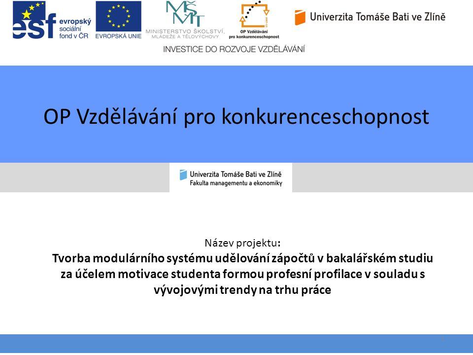 OP Vzdělávání pro konkurenceschopnost 1 Název projektu: Tvorba modulárního systému udělování zápočtů v bakalářském studiu za účelem motivace studenta formou profesní profilace v souladu s vývojovými trendy na trhu práce