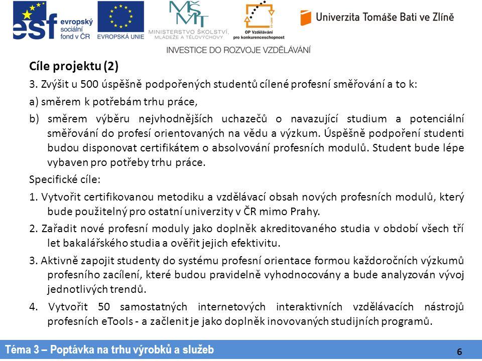 Téma 3 – Poptávka na trhu výrobků a služeb Cíle projektu (2) 3.