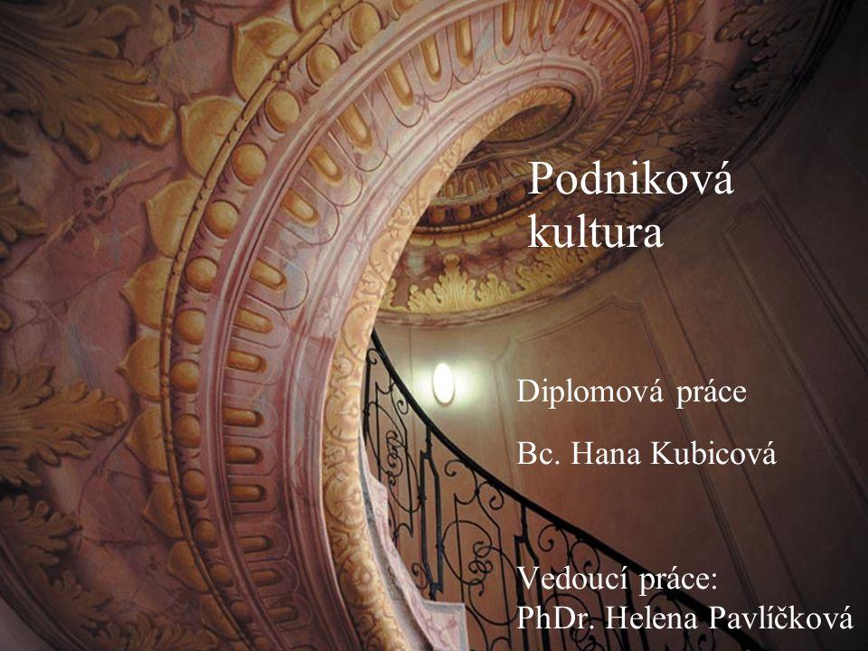 Úvod Podniková kultura Diplomová práce Bc. Hana Kubicová Vedoucí práce: PhDr. Helena Pavlíčková