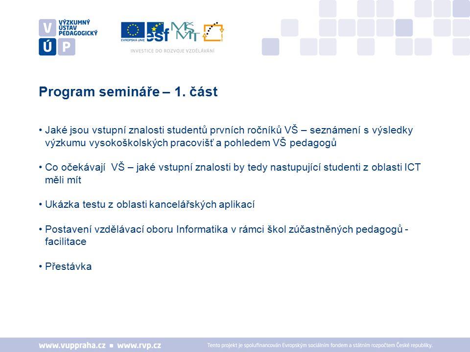 Jaké jsou vstupní znalosti studentů prvních ročníků VŠ – seznámení s výsledky výzkumu vysokoškolských pracovišť a pohledem VŠ pedagogů Co očekávají VŠ