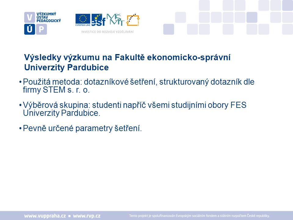 Výsledky výzkumu na Fakultě ekonomicko-správní Univerzity Pardubice Použitá metoda: dotazníkové šetření, strukturovaný dotazník dle firmy STEM s.