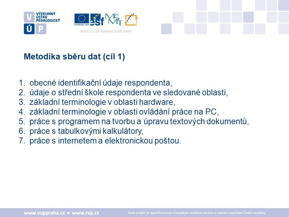 Metodika sběru dat (cíl 1) 1.obecné identifikační údaje respondenta, 2.údaje o střední škole respondenta ve sledované oblasti, 3.základní terminologie