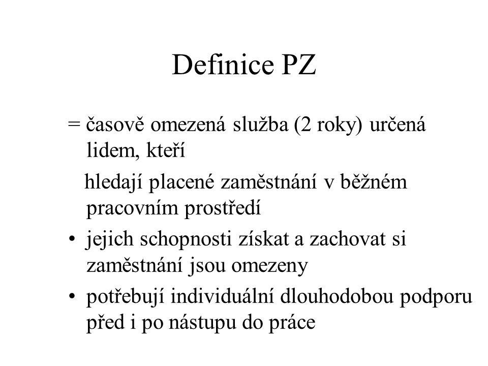 Definice PZ = časově omezená služba (2 roky) určená lidem, kteří hledají placené zaměstnání v běžném pracovním prostředí jejich schopnosti získat a za