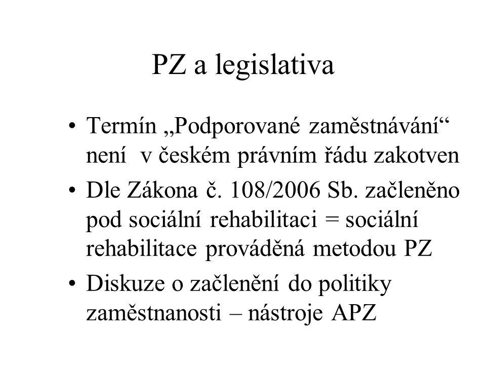"""PZ a legislativa Termín """"Podporované zaměstnávání"""" není v českém právním řádu zakotven Dle Zákona č. 108/2006 Sb. začleněno pod sociální rehabilitaci"""