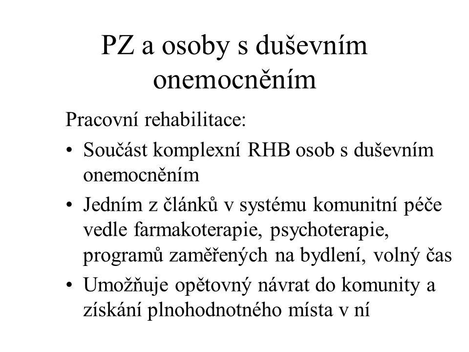 PZ a osoby s duševním onemocněním Pracovní rehabilitace: Součást komplexní RHB osob s duševním onemocněním Jedním z článků v systému komunitní péče ve