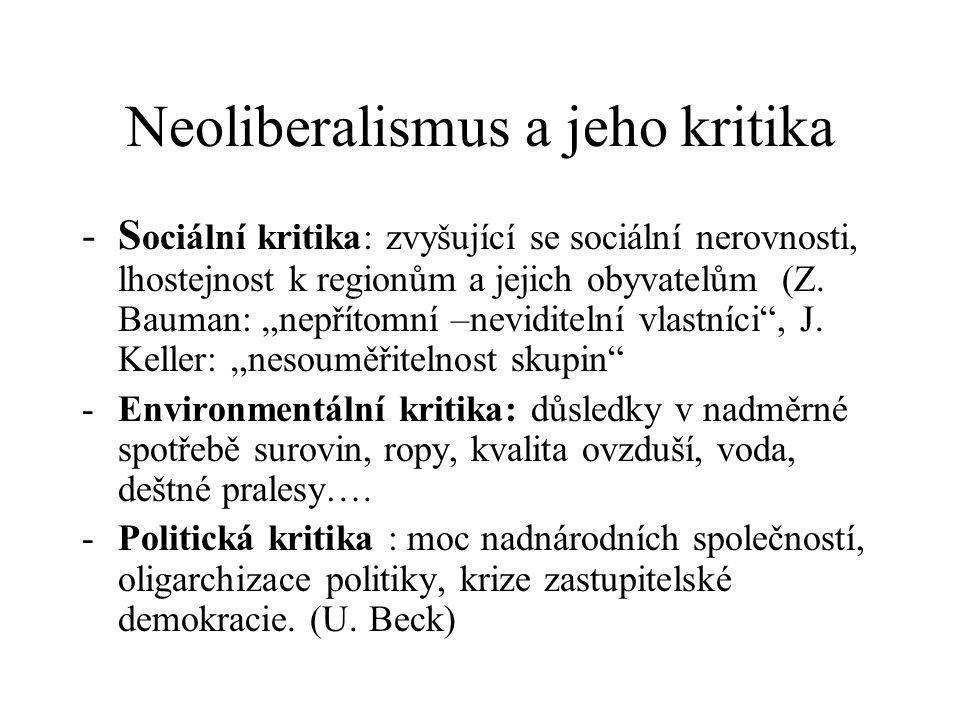 """Neoliberalismus a jeho kritika -S ociální kritika: zvyšující se sociální nerovnosti, lhostejnost k regionům a jejich obyvatelům (Z. Bauman: """"nepřítomn"""