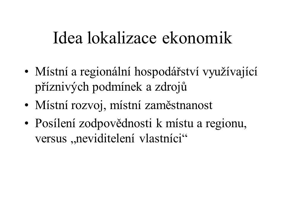 Idea lokalizace ekonomik Místní a regionální hospodářství využívající příznivých podmínek a zdrojů Místní rozvoj, místní zaměstnanost Posílení zodpově