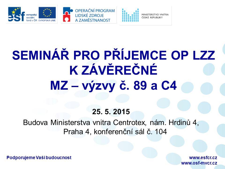 Finanční přílohy k ZMZ Podporujeme Vaši budoucnostwww.esfcr.cz www.osf-mvcr.cz